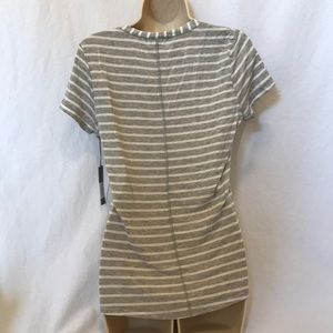 Tart Tops - Tart Striped V Neck Pocket Tee Grey and White